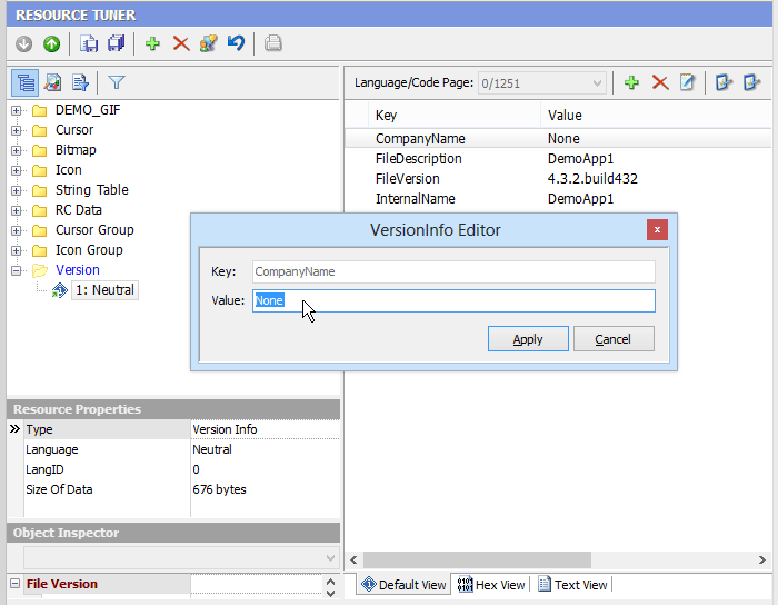 Open the StringFileInfo Value Editor