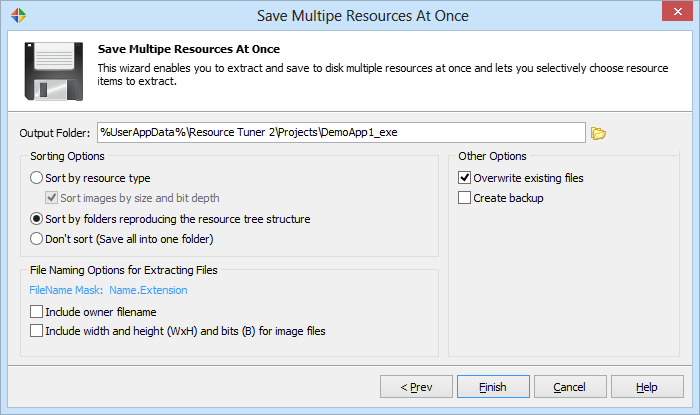 Specify the default output folder for saved resource files